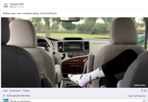Way to go Toyota! You have blown us away with your Irish sock with cloverleafs. I mean it's not like you could do better....(sarcasm indeed)